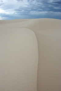 Crest of a large dune in the early morning light