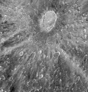 Hubble Space Telescope image of the Tycho Crater on the moon. (NASA, ESA, D. Ehrenreich (Institut de Planétologie et d'Astrophysique de Grenoble (IPAG)/CNRS/Université Joseph Fourier)